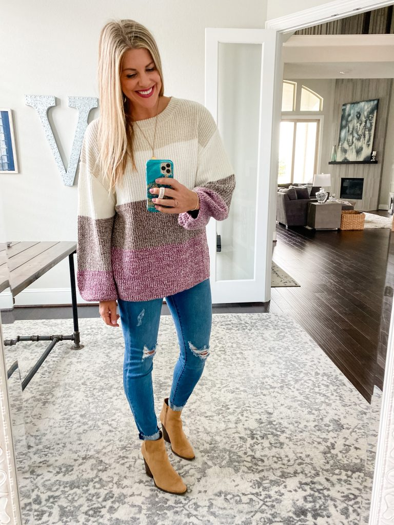 Fall Sweater From Pink Lily #booties #falloutfits #distresseddenim #colorblocksweater #womensfallclothing