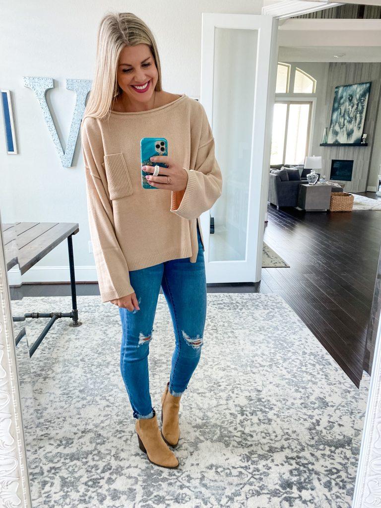 Fall Basics For Women #booties #sweater #distresseddenim #fallessentials #womensfallclothing #falloutfits