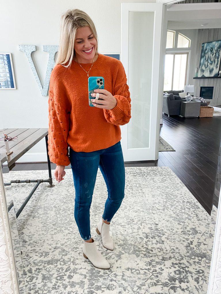 Orange Balloon Sleeve Sweater From Pink LIly #fallsweater #denim #booties #fallclothing #womensclothing