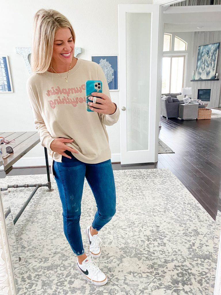Casual Fall Clothing #graphictee #pullover #womensclothing #nikesneakers