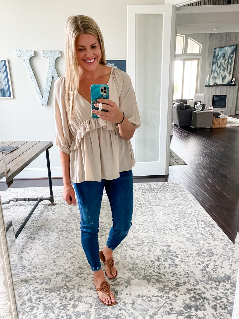 Ruffle Top From Pink Lily #falloutfits #womensclothing #toryburch #millersandals #falltops